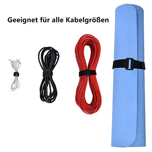 Koogel Kabelbinder Klett, Wiederverwendbare Kabelbinder mit Klettverschluss, Kabelklett Kabelbinder Büro (30 Stück)