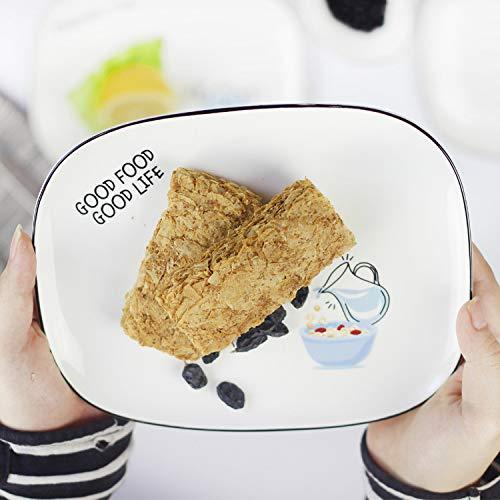 MYYXGS Essteller Geschirr Nordische Keramikteller Obstsalatteller Kuchen Dessertteller Westlicher Teller Alphabet FrüHstüCksteller