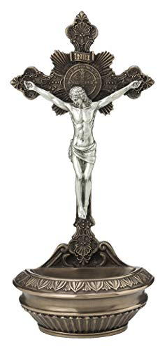 Veronese Collection Saint Benedict Crucifixion Ornate Bronze & Pewter 9.5 Inch Standing & Hanging Holy Water Font