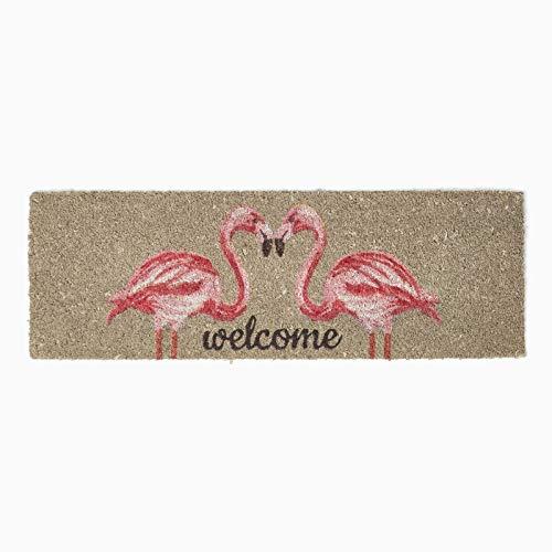 Homescapes Felpudo (color rosa Flamenco 'Welcome' 100% natural fibra de coco 25x 75cm con goma antideslizante para interiores y exteriores Felpudo