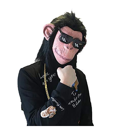 L Big Boss Halloween-Schimpansen-Kopfbedeckung, Tier-Bar-Maske, Einheitsgröße, lustig, Orang-Utan, Cosplay, goldene Halskette, Sonnenbrille