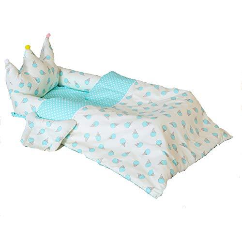 HLSUSAN Baby Bassinet para Cama, Cuna de Algodón Suave para Recién Nacido, Transpirable e Hipoalergénica, Cama para Bebé, 95 * 55 * 35 CM,Blue Ice Cream