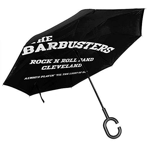 Le Barbusters Rock N Roll Band Cleveland paraplu omgekeerd voor auto opvouwbaar geschenk in C-vorm handen