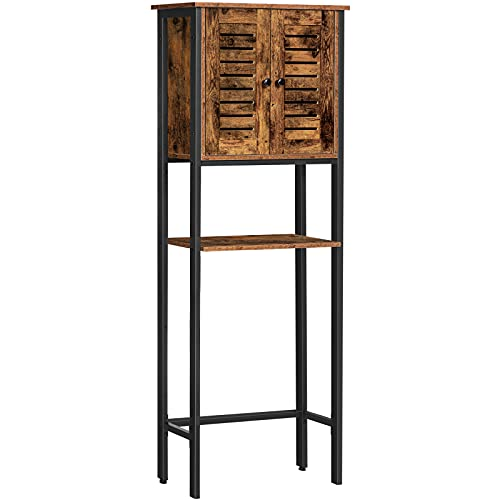 HOOBRO Toilet Storage Rack, Over-The-Toilet Cabinet with Louver Door, Industrial Multi-Functional Bathroom Space Saver, Easy to Assemble, Stable, Rustic Brown BF43TS01