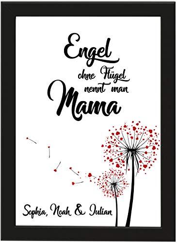 PICSonPAPER Personalisiertes Muttertagsgeschenk Poster DIN A4 Engel ohne Flügel nennt Man Mama, gerahmt mit schwarzem Bilderrahmen, Muttertag, Poster mit Rahmen, Weihnachten, Personalisierbare Poster