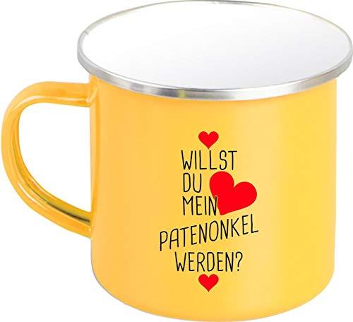 Shirtstown Taza esmaltada, diseño nostálgico con texto en alemán 'Willst du Mein Patenonkel Werden?', color amarillo