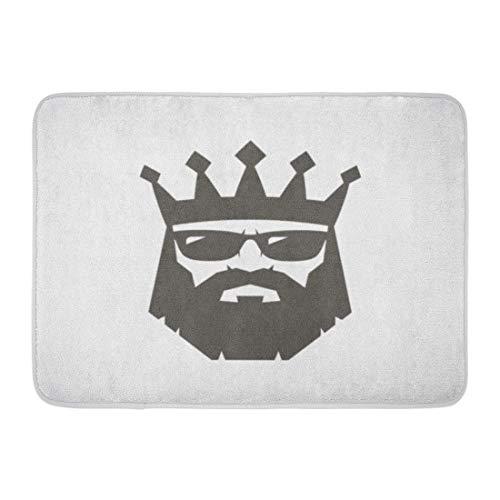 NCH UWDF Felpudos Alfombras de baño Alfombrilla de Puerta Barba Rey Barbudo con Gafas de Sol Corona Cabeza de Hombre Negro Viejo 15.8'x23.6'