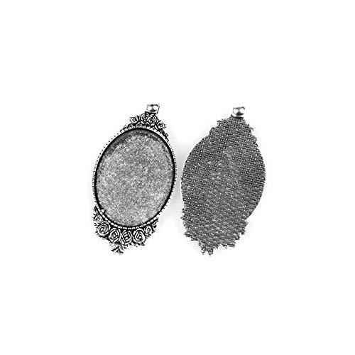 Charming Beads Pacco 5X Argento Antico Lega di Metallo Ovale Cabochon Montatura 30x40mm Y10085