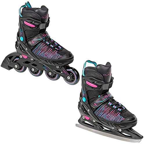 RAVEN 2in1 Schlittschuhe Inline Skates Inliner Allure verstellbar (31-35 (20,5cm-23cm))