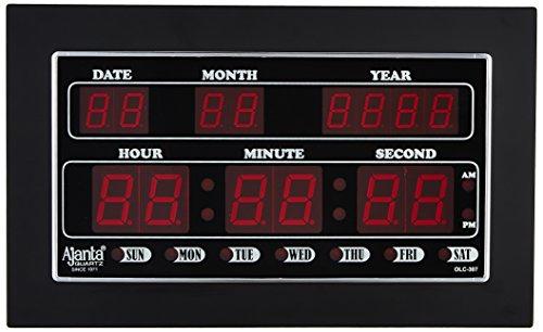 Ajanta Quartz Digital Red LED Rectangle Wall Clock OLC - 307 (34 cm x 20 cm x 4 cm)