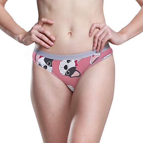 JERECY Women Underwear Bikini Cute French Bulldog Pattern 3D Printed Sexy Low Waist Panties Hipster Comfy Briefs S White