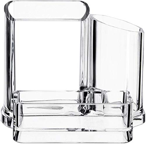 Kryllic Bathroom Organizer Toothbrush Holder Acrylic Soap Storage Clear Office Accessories Holder - Clear 3 compartment vanity cosmetic storage organizer for toothbrushes jewelry makeup brush lipstick