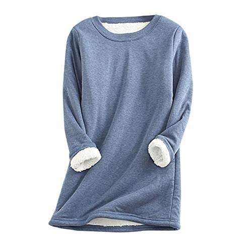 SMTM Herbst Und Winter Damen Langarm lässig T-Shirt Top Mehr Kaschmir Top Halblang Sweatshirt Große Größe Schlank und Behalten Warme Bluse (5XL, Blau)