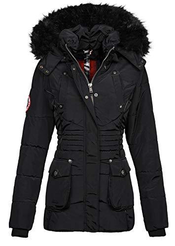 Marikoo Designer Damen Winter Jacke Parka Mantel Teddyfell warm gefüttert B368 [B368-Vanilla-Schwarz-Gr.XXL]