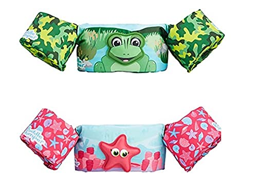STEARNS Puddle Jumper Original 3D Deluxe 2 PK Forest Frog & Pink Starfish, 30-50 Pounds, 2 Pack