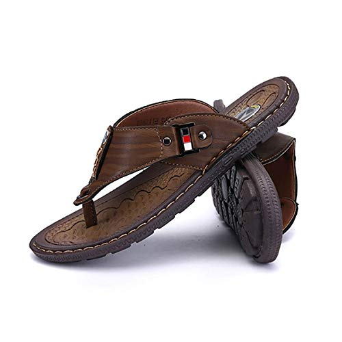 JXJ Chanclas Planas para Hombre Sandalias Verano Suave Cuero PU Clip Toe Zapatillas de Playa Zapatos Sandalias de Tanga Antideslizantes al Aire Libre con Soporte de Arco