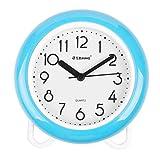 YINMING Bathroom Waterproof Clock, 7 Inches Non-Ticking Number Quartz Wall Clock, Adorable Desk & Shelf Clock, Living Room Decorative Indoor Clock, Kitchen Clock, Shower Clock,are Anti-Fog, Sky-Blue