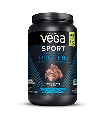 Vega Sport Protein Powder Chocolate(19 Servings, 29.5oz)  - Plant-Based Vegan Protein Powder, BCAAs, Amino Acid, tart cherry, Non Dairy, Gluten Free, Non GMO (Packaging May Vary)