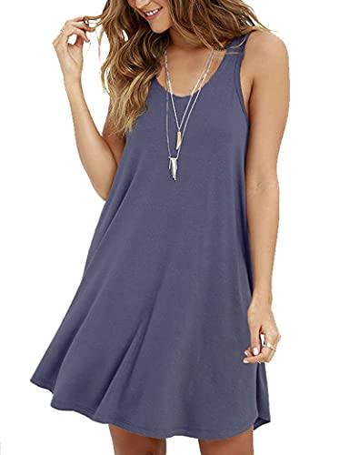 AUSELILY Mujer Vestido Suelto De Camiseta Simple con Swing Casual para (Gris púrpura,X-Large)