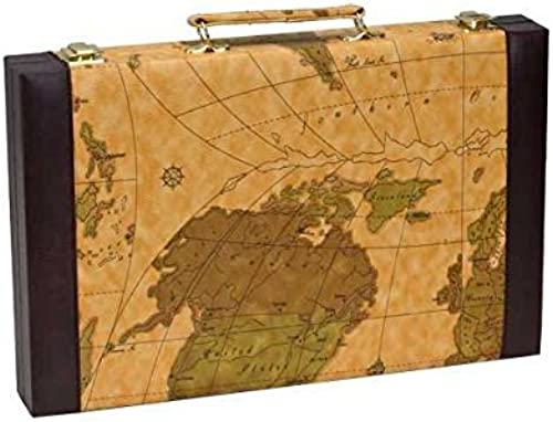 CHH Imports 15 Inch Backgammon Set In braun Vinyl Map Design Case by CHH