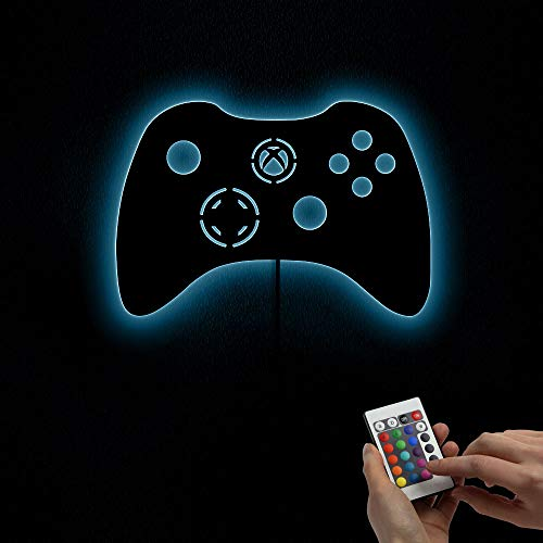 The Geeky Days Gamepad Controler Wall Mirror with LED Backlight Joystick Games Decorative Mirror Video Game Retro Arcade Home Decor Gamers Gift