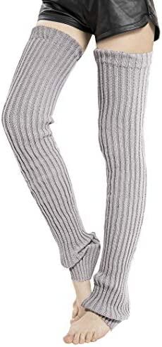 Leotruny Women s Winter Thick Knit Extra Long Thigh High Leg Warmers C02 Light Gray product image