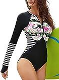 Eytino Women Floral Printed One Piece Swimsuit Long Sleeve Zipper Sun Protection Rash Guard Bathing Suit,Large Black
