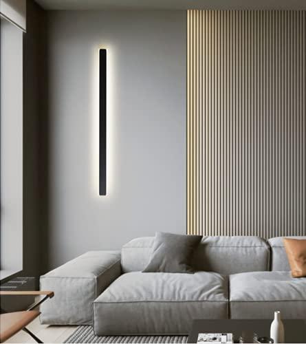 LED Minimalismo Largo lámpara de pared Creativo Moderno Cuarto Lámpara de noche Pared de TV sala sala de estar negro Comedor Estudio Corredor Acrílico Iluminación de pared Luz cálida 3000K,L:60CM