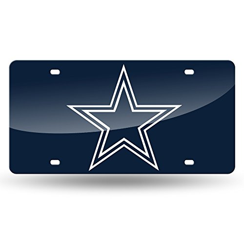NFL Rico Industries Laser Inlaid Metal License Plate Tag, Dallas Cowboys,Team Color,6 x 12-inches