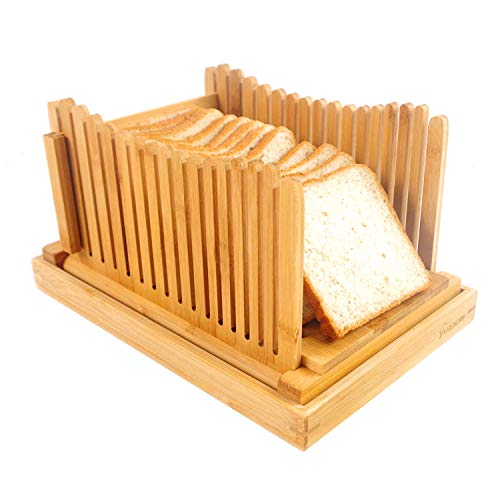 PURENJOY Bamboo Bread Slicers for Homemade Bread - Foldable Bread Slicing Guide with Crumb Catcher,...