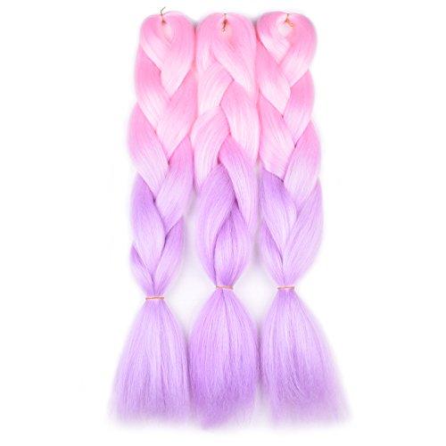 Ombre Braiding Hair Kanekalon Light Pink/Light Purple 3 Packs Jumbo Braid Hair Extension Ombre Colors High Temperature Synthetic Fiber Soft Healthy
