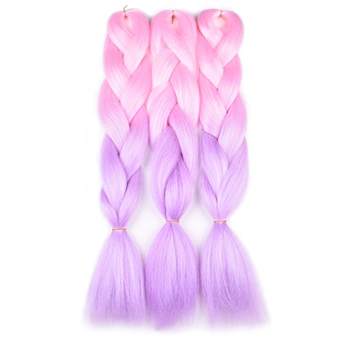 Ombre Braiding Hair Kanekalon Light Pink/Light Purple 3 Packs Jumbo Braid Hair Extension Ombre Colors High Temperature Synthetic Fiber Soft Healthy