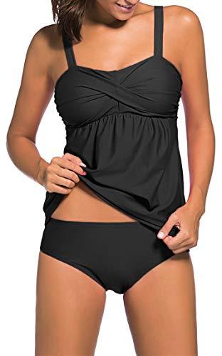 Ocean Plus Damski elegancki strój kąpielowy tankini z majtkami Bauchweg wyściełany dwuczęściowy strój kąpielowy z regulowanymi paskami