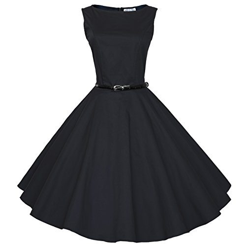 Maggie Tang 50 60s Vintage Audrey Hepburn Swing Rockabilly Gown Dress Black M