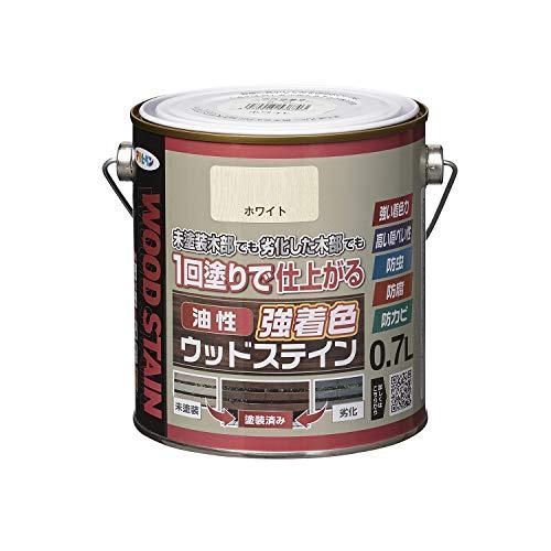 アサヒペン(Asahipen) 油性強着色ウッドステイン 0.7L ホワイト