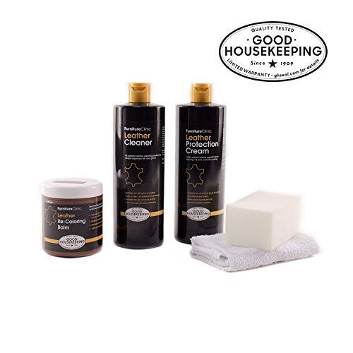 Furniture Clinic Leather Complete Restoration Kit - Set Includes Leather Recoloring Balm, Protection...