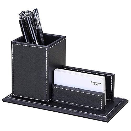 KINGDOM Portapenne da scrivania ufficio con Porta Biglietti da visita (Nero)