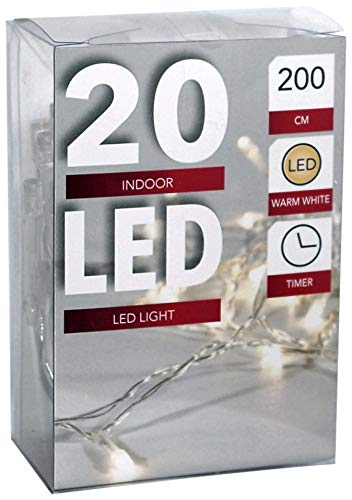 Led Lichterkette Batterie mit Timer 20 Leds warmweisses Licht transparentes Kabel