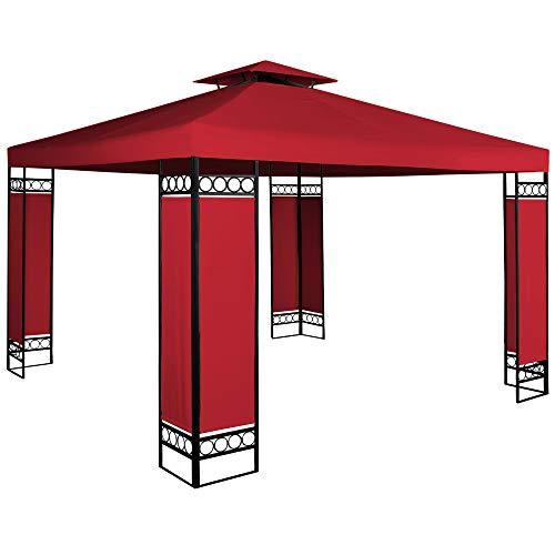 Deuba Pavillon Lorca 3x3m wasserabweisend UV-Schutz Metall Gestell 9m² Festzelt Partyzelt Gartenzelt Gartenpavillon Rot