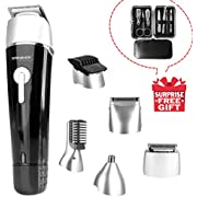 Waterproof Man's Grooming Kit 5 in 1 Hair Clippers Beard Trimmer Dual Shaver Body Trimmer Nose Hair Trimmer Precision Trimmer Rechargeable