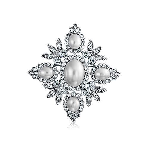 Bridal Cristal Blanco Perla Simulada De Moda Gran Declaración Hoja Flor Broche para La Mujer Madre Chapados En Plata.
