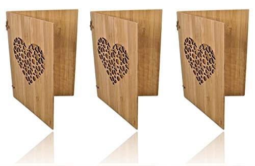 3 Handgefertigte beschreibbare Bambuskarten mit Herz | Hochzeitskarte | Geburtstagskarte | Geschenkkarte | Einladung Karte Holz | von SZillion®
