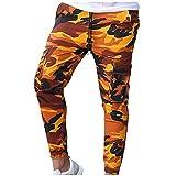 Binggong Pantalones de camuflaje para hombre, pantalones de deporte, ajustados con goma elástica, pantalones de jogging, con bolsillos laterales, largos, de camuflaje, pantalones de chándal