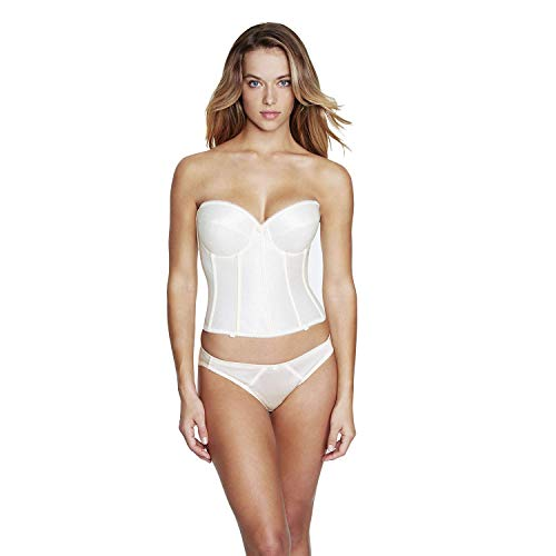 Dominique Satin Low Back Strapless Underwire Bustier Style 7750 - Ivory - 36D