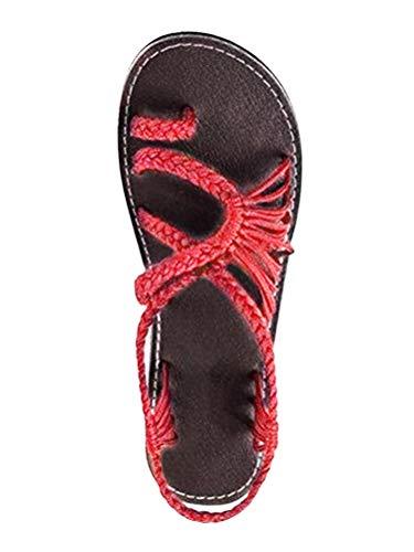 Sandalias de Mujer Verano 2018 Gladiador Zapatillas con Trenzas Cruzadas Moda Bohemia Chanclas de Playa