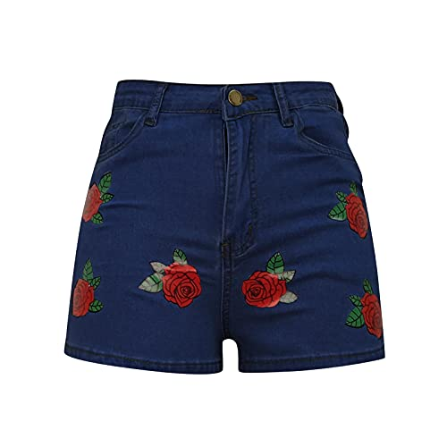TYTUOO Sexy Mujeres Pantalones Cortos De Cintura Alta Casual Denim Shorts Atrapados Borla Jeans Rasgados Agujeros Jeans Pantalones Multicolor, 09#azul oscuro, XL