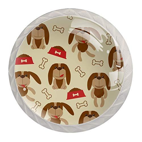 Perillas de armario de cocina, perillas decorativas redondas, armario, cajones, tocador, tirador, 4 Uds., Encantador hueso de perro pequeño, comida para perros