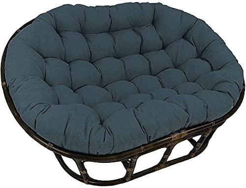 Meishikanka Solid Double Papasan Cushion, Waterproo f Round Egg Hammock Thick Nest Back,Swing Cushion Papasan Patio Seat Cushion For Outdoor Indoor 65X45X6inch (Color : GrayBlue)