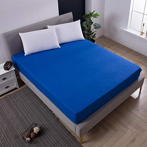 UKUCI 100% Polyester solid color elastic sheet easy care and clean fitted sheet for bed mattress protector,Blue,80X200X25cm
