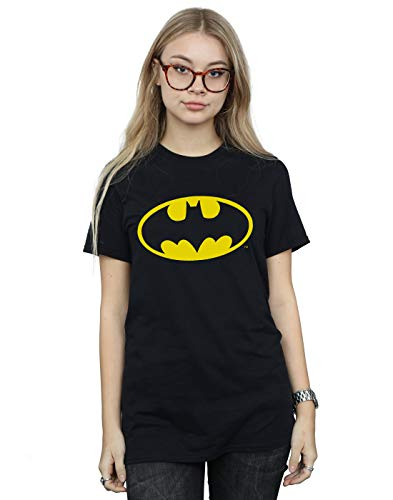 DC Comics Mujer Batman Logo Camiseta del Novio Fit Negro Large